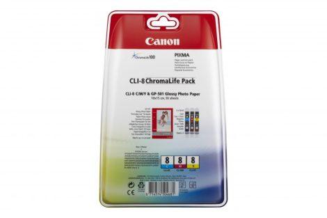 Canon CLI-8 C/M/Y & GP-501 Glossy Photo Paper