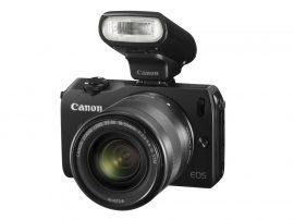 Canon EOS M váz + EF-M 18-55mm / 3.5-5.6 IS STM objektív + 90EX vaku (4 színben) (fekete)