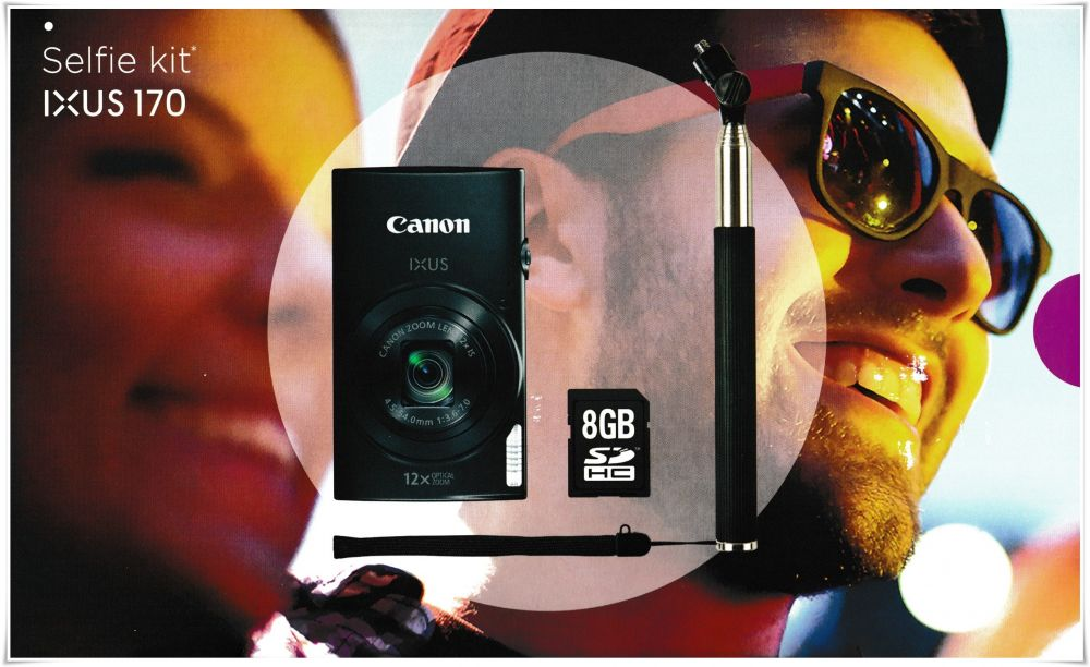 Canon Ixus 170 Selfie KIT (fekete)