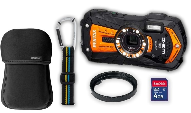Optio WG-2 GPS Shiny Orange + neoprene case + SD card 4 GB + floating strap