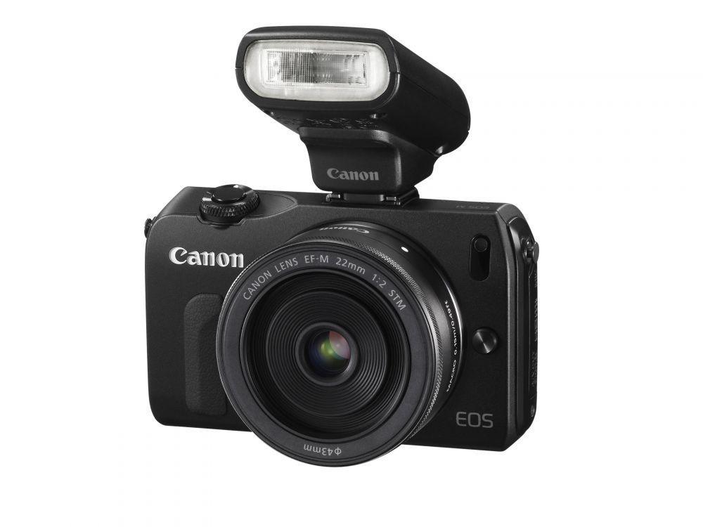 Canon EOS M váz + EF-M 22mm / 2.0 STM objektív + EF M - EF adapter + 90EX vaku (2 színben) (fekete)