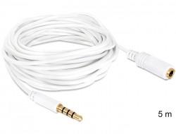 Delock Jack 3,5mm Jack dugó (apa) (4p) > 3,5mm Jack aljzat (anya) (4p) hosszabbító kábel (5m)
