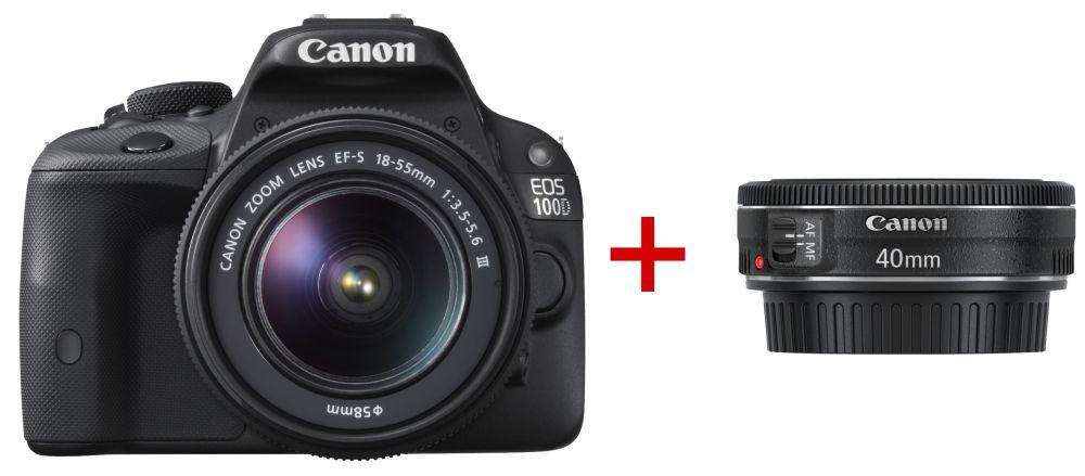 Canon EOS 100D + EF-S 18-55mm / 3.5-5.6 III + EF 40mm / 2.8 STM (2 év Garancia)