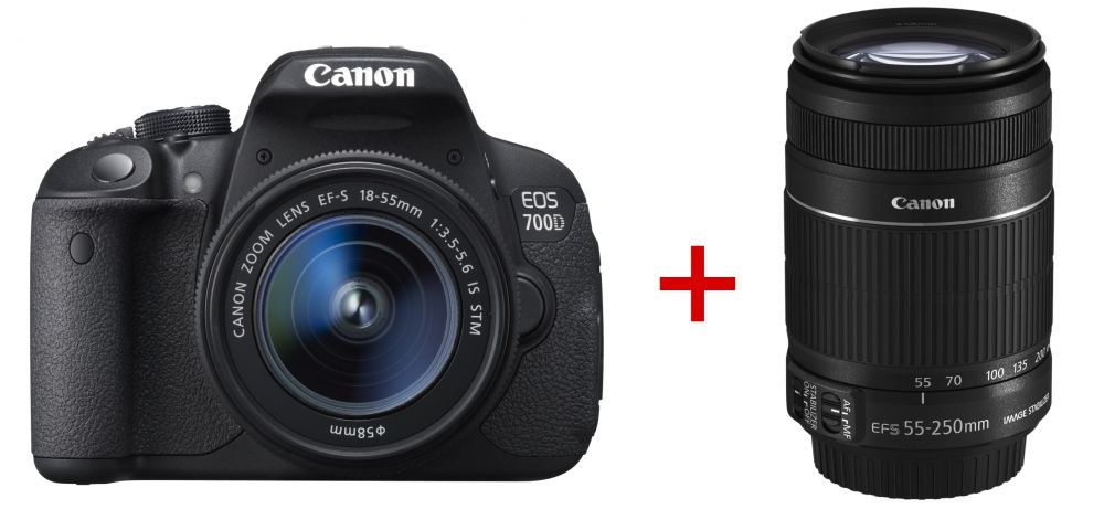 Canon EOS 700D + EF-S 18-55mm / 3.5-5.6 IS STM + EF-S 55-250mm / 4.0-5.6 IS STM