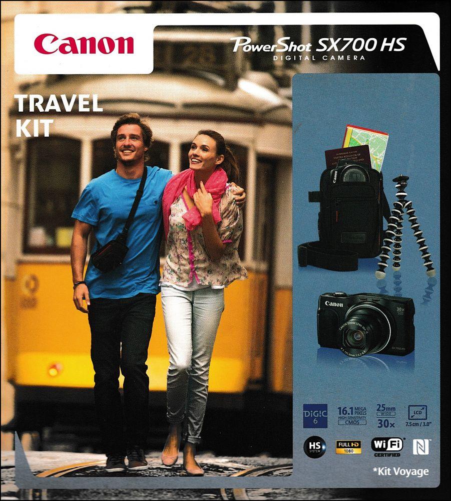 Canon PowerShot SX700HS Travel Kit (Wi-Fi+NFC) (2 színben) (fekete)