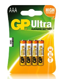 """GP Ultra (AAA) """"vékony"""" ceruza elem (4db-os szett)"""