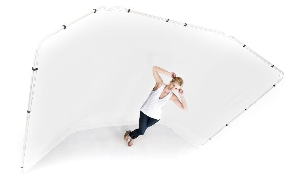 Lastolite fehér panoráma háttér, tartókerettel - 4m