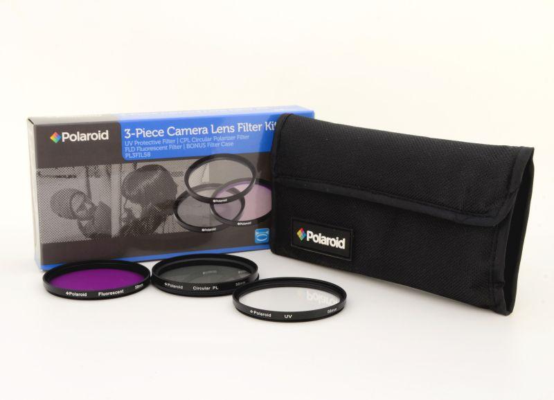Polaroid szűrőszett 3db-os (UV, CPL, FLD) + szűrőtok (55mm)