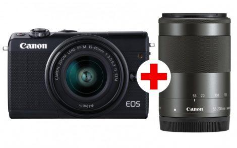Canon EOS M100 + EF-M 15-45/3.5-6.3 IS STM + EF-M 55-200/4.5-6.3 IS STM - fekete színű