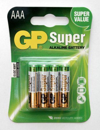 """GP Super (AAA) """"vékony"""" ceruza elem (4db-os szett)"""