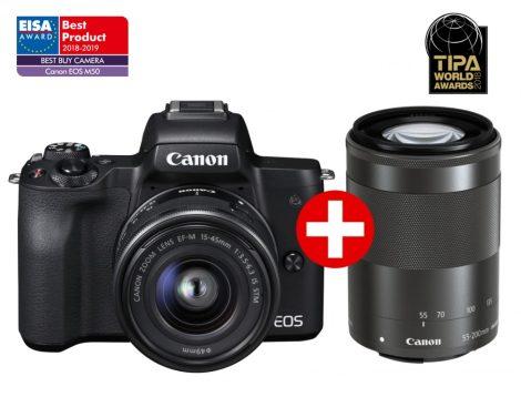 Canon EOS M50 + EF-M 15-45mm IS STM + EF-M 55-200mm IS STM - fekete színű