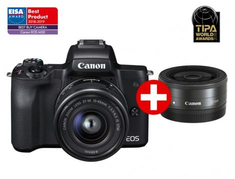 Canon EOS M50 + EF-M 15-45mm IS STM + EF-M 22mm /2.0 STM - fekete színű