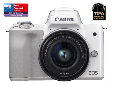 Canon EOS M50 váz + EF-M 15-45mm /3.5-6.3 IS STM - fehér színű