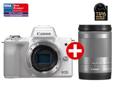 Canon EOS M50 + EF-M 18-150mm/3.5-6.3 IS STM - fehér/ezüst színű