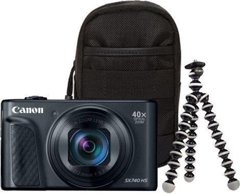 Canon PowerShot SX740HS Travel Kit - fekete színű