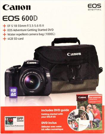 Canon EOS 600D + EF-S 18-55mm /3.5-5.6 IS II + fotótáska + 4GB kártya + oktató DVD