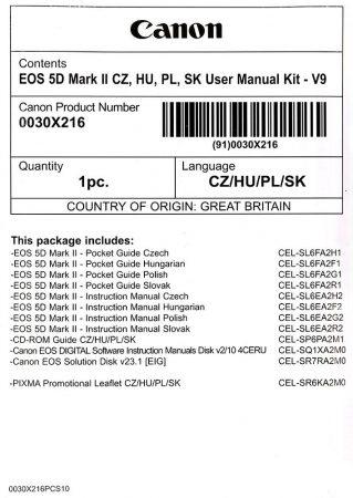 Canon EOS 5D mark II Használati útmutató + Szoftver csomag V9