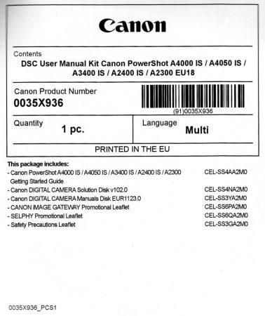 Canon PowerShot A4000is Használati útmutató + Szoftver csomag EU18