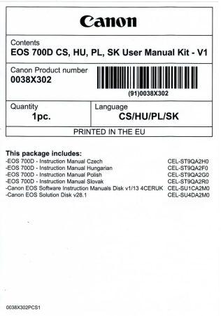 Canon EOS 700D használati útmutató + szoftver csomag V1
